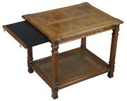 Mid Century Oak And Olive Ash Burl Caned Two Tier Side Accent Tea Tray Table 27