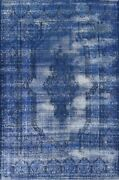 Antique Overdyed Blue Distressed Kirman Hand-knotted Evenly Worn Area Rug 10x12