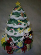 Disney First Issue Christmas Cookie Jar Mickey And Friends 3-d Around Tree Jar