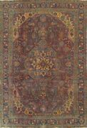 Antique Overdyed Tebriz Floral Hand-knotted Area Rug Evenly Low Pile Carpet 8x11
