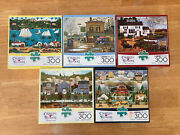 Lot Of 5 Charles Wysocki Buffalo Games 300 Large Piece Jigsaw Puzzles Complete