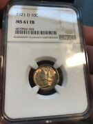 1921-d Mercury Dime Uncirculated Ngc Ms61 Full Bands Scarce