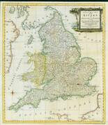 1762 Antique Map Accurate Map Of The Rivers Of England Wales Robert Sayer Lm6