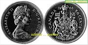 Canada 1968 Canadian Jubilee Queen Ii Rare 50 Cent Mule Missing 'a' Coin Error