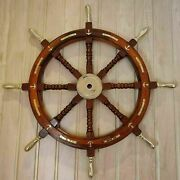 Antique Wooden Brass Ship Wheel Nautical Boat Steering Ship Wheel Wall 36and039and039