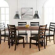Manor Park 7 Piece Farmhouse Wood Dining Table Set Table And Chairs Mahogany/black