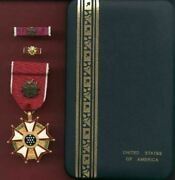 Legion Of Merit Officer's Rank Medal With Ribbon Bar And Lapel Pin In Case