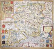 C1700 Very Rare Original Antique Map Hampshire By Christopher Saxton And P.lea