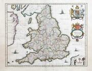 C1646 Large Map Anglia Regnum England And Wales By Blaeu Latin Edition Lm11
