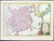 1762 Original Antique Map Of China Korea And The Islands Of Japan Formosa Blm