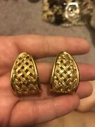 Vintage Napier Shiny Gold Tone Chunky Open Work Style Hoop Clip On Earrings
