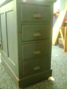 Antique 4 Drawer Wooden Card Cabinet On Wheels 29.5 High See Description.