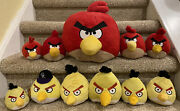 """5 To 8"""" Angry Birds Chuck And Red Plush Lot Of 11 Rovio"""
