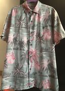 Tommy Bahama Silk Camp Shirt-size Medium- Gray Pink Palm Coconut Buttons-nwot