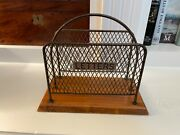 Antique Victorian English Brass Wire Mesh Letter Document Holder Box Caddy Rack