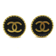 Cc Button Motif Earrings Gold Black Clip-on 94a Accessories 83706