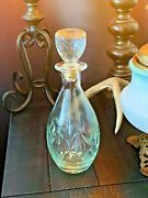 Vintage Cut Clear Light Blue Glass Liquor Bottle Decanter With Lid 11 Tall