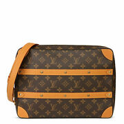 Louis Vuitton Brown Monogram Coated Canvas And Vachetta Leather Soft Trunk...