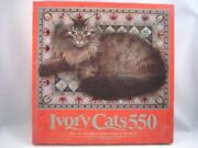 Ivory Cats Mb Ruskin On Blue Floral Carpet 550 Piece Puzzle 18 X 24 In Vtg 1992
