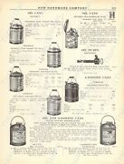 1920s Antique Hardware Ad Oil And Gasoline Cans-oil Pumps-erie Cast Hollow Ware
