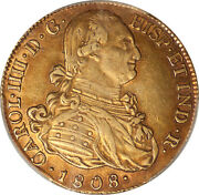 Colombia 1808-jf Charles Iv Gold 8 Escudos Pcgs Au Details