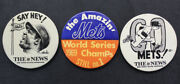 Vintage New York Mets Pin Lot Of 3 - 1970's World Series Champs Willie Mays Rare