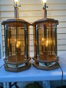 Pair Vintage Oak Brass Beveled Smoked Glass Table Lamps Octagonal 3-way