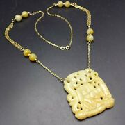 Vintage Carved Icy Yellow Caramel Jade Jadeite Pendant 14k Gold Chain Necklace