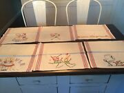 Lot Of 6 Vintage Cotton Embroidered Kitchen Towels