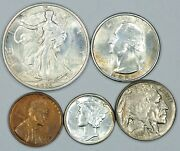 1935-p Coin Set With Half, Quarter, Dime, Nickel, Wheat Cent Bu Condition Mint