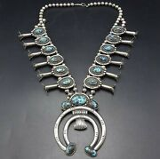 Vintage Navajo Sterling Silver High Blue Turquoise Squash Blossom Necklace