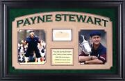 Payne Stewart Deluxe Horizontal Framed Collectible With 2.5and039and039 X 3.5and039and039 Signed Cut