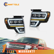 Pair Full Led Projector Headlight Sequential Turn Signal For 2009-2014 Ford F150