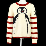 07a 40 Round Neck Long Sleeve Penguin Knit Sweater Ivory Red 02513