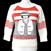 01a Cc Mademoiselle Long Sleeve Sweat Shirt White Red Cotton 00881