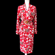 Cc Button Floral Pattern Long Sleeve One Piece Dress Red 00749