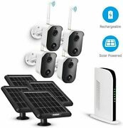 Tmezon 1080p Wireless Solar Battery Powered Camera System 4ch Wifi Nvr 128g Card