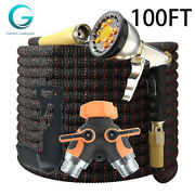 100feet Expandable Garden Hose Kit 4layers Latex Brass Connector Spray Nozzle