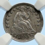 1853 P United States Us Silver Seated Liberty Silver Half Dime Coin Ngc I95616