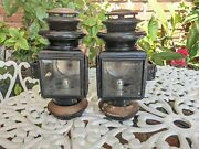 Antique Ford Model T A Jno W Brown Model 110 Brass Oil Side Lamp Light Pair