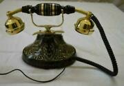 Vintage Table Brass Telephone Antique Solid Brass Rotary Dialining Telephone