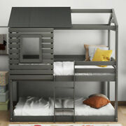 Kids Twin Over Twin Bunk Beds Wood House Bed Frame With Roof, Window And Ladder