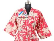 Indian Bikini Cover-up Cotton Wrap Coat Red Color Gown Long/short Size Nighty
