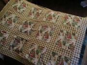 New Very Pretty Christmas Santa And Sleigh Quilt Top