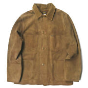 Rrl 20ss Suede Chore Jacket Rough Out Choa Brown Leather Jean No.7478