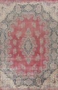 Antique Kirman Floral Hand-knotted Area Rug Red Oriental Over Size Carpet 11x16