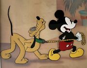 """Pluto And Mickey Mouse """"society Dog Show"""" 1939 Animation Cel"""