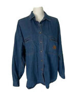 Marithe Francois Girbaud Womens Blue Denim Shirt Elbow Patches Embroidered Large