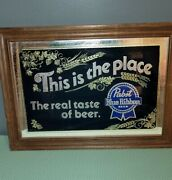 Vintage 1984 Pabst Blue Ribbon Pbr This Is The Place Framed Bar Mirror Sign