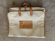 Hermes Vintage Garment Bag Canvas With Leather Trim In Excellent Condition.